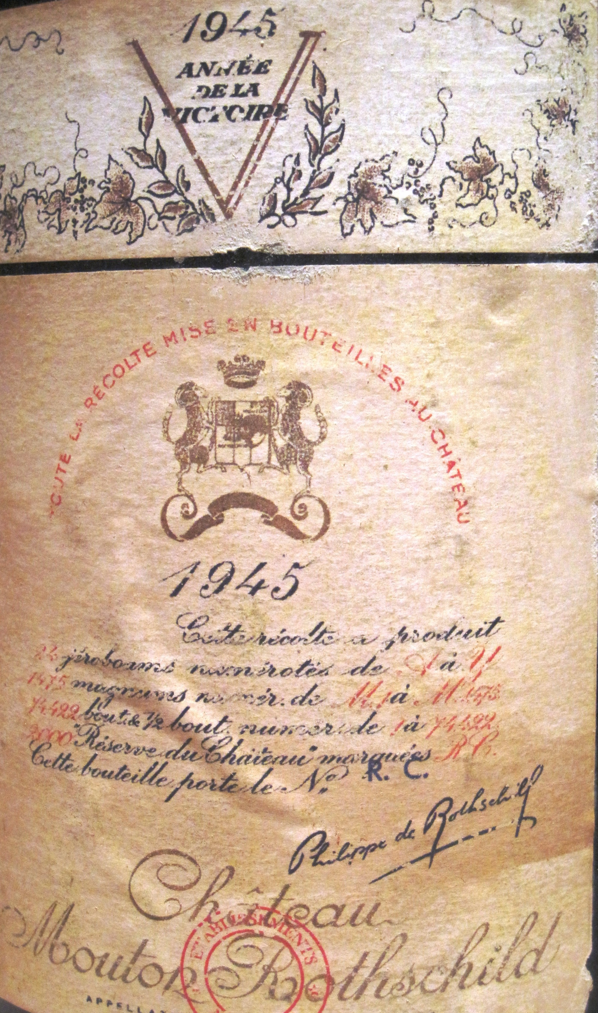 Mouton Rothschild rare wine label 1945